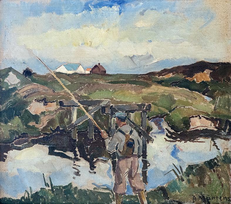Forfatteren Erling Kristensen på fisketur ved Høgild ved Karup Å i 1934.